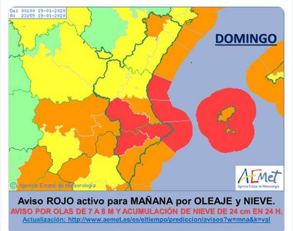 Aviso rojo por lluvi, nieve y viento en Valencia/AEMET