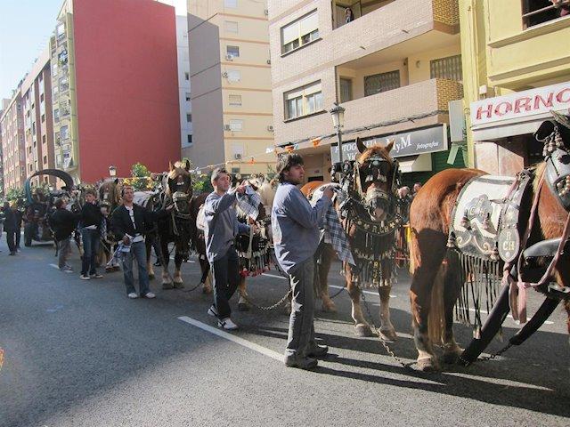 Bendición de animales en la calle Sagunto, Parroquia de san Antonio Abad