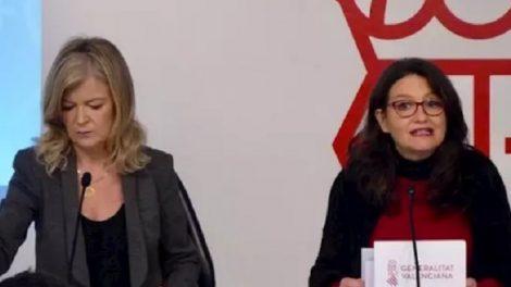 Bravo y Oltra durante el anuncio del anteproyecto de Ley de la Función Pública/GVA
