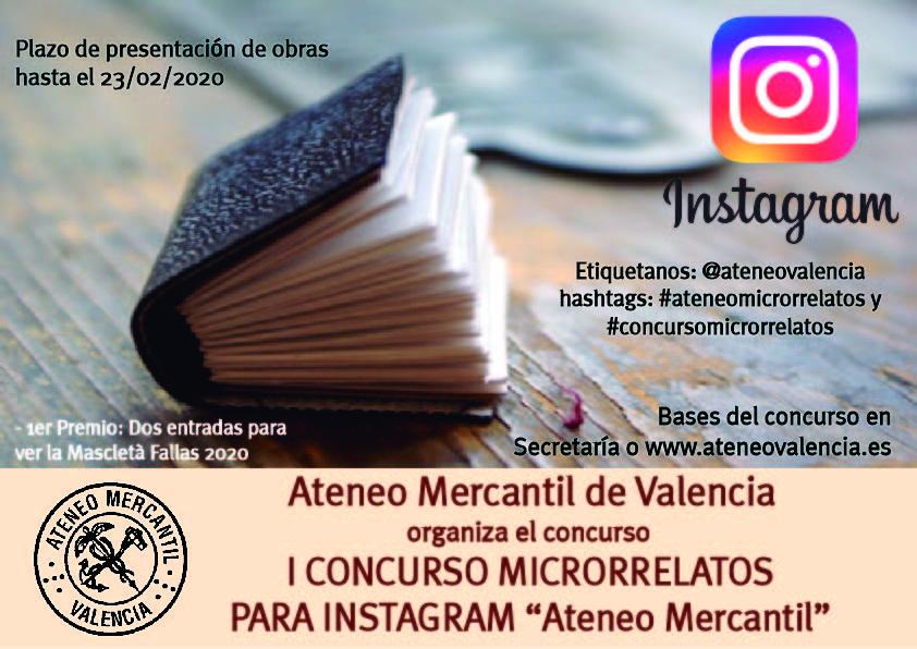 El Ateneo organiza el I Concurso de Microrrelatos por Instagram/@ateneovalencia